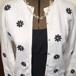 Sweaters - Carol Reed black embroidered flowered sweater